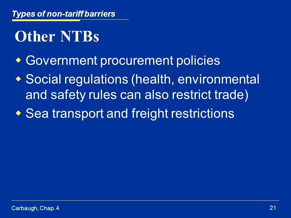 Other NTBs Government procurement policies