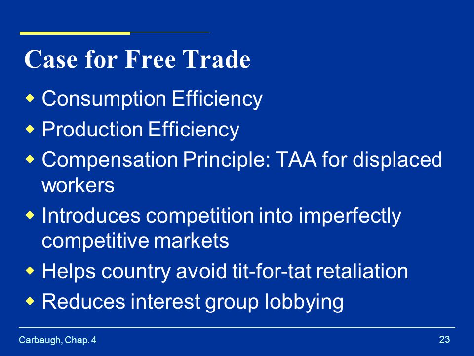 Case for Free Trade Consumption Efficiency Production Efficiency