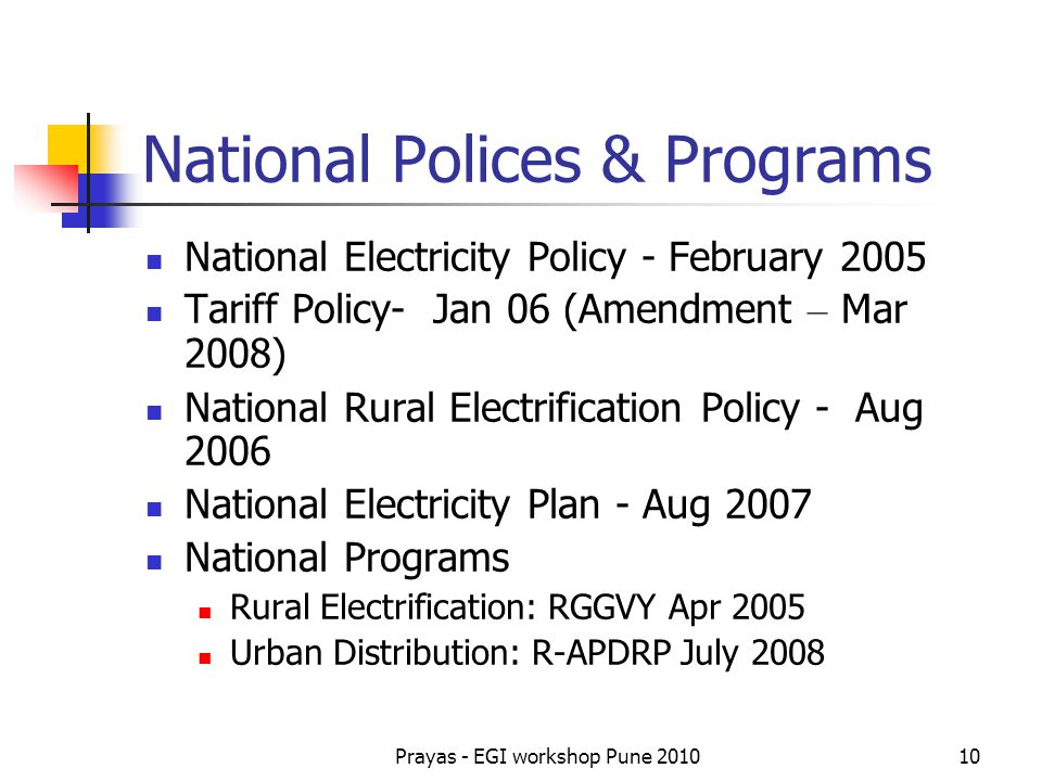 National Polices & Programs
