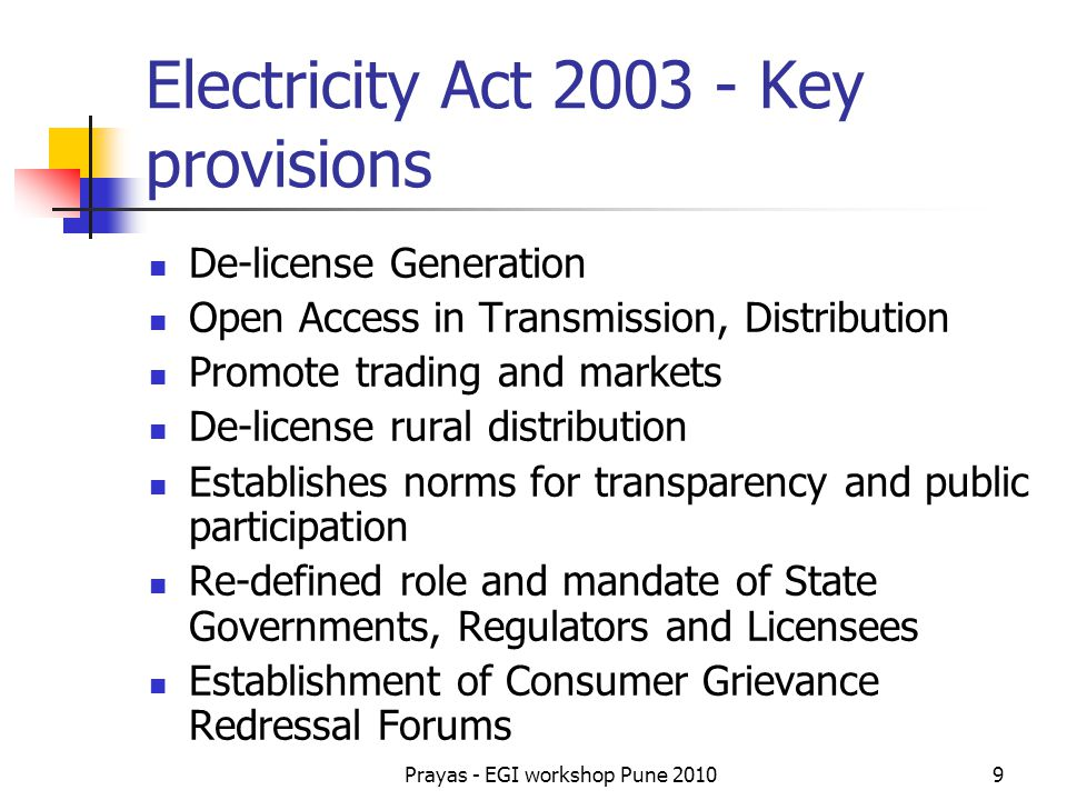 Electricity Act 2003 - Key provisions