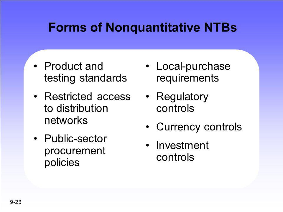 Forms of Nonquantitative NTBs