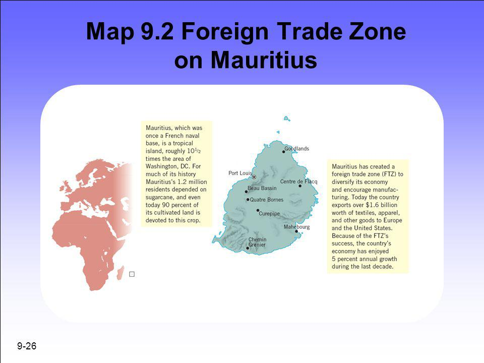 Map 9.2 Foreign Trade Zone on Mauritius