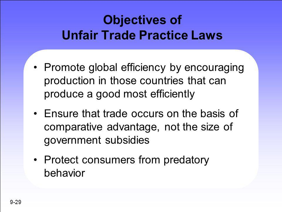 unfair government laws The new trade competition act seeks to eliminate unfair trade practices and  and which have been published in the government.