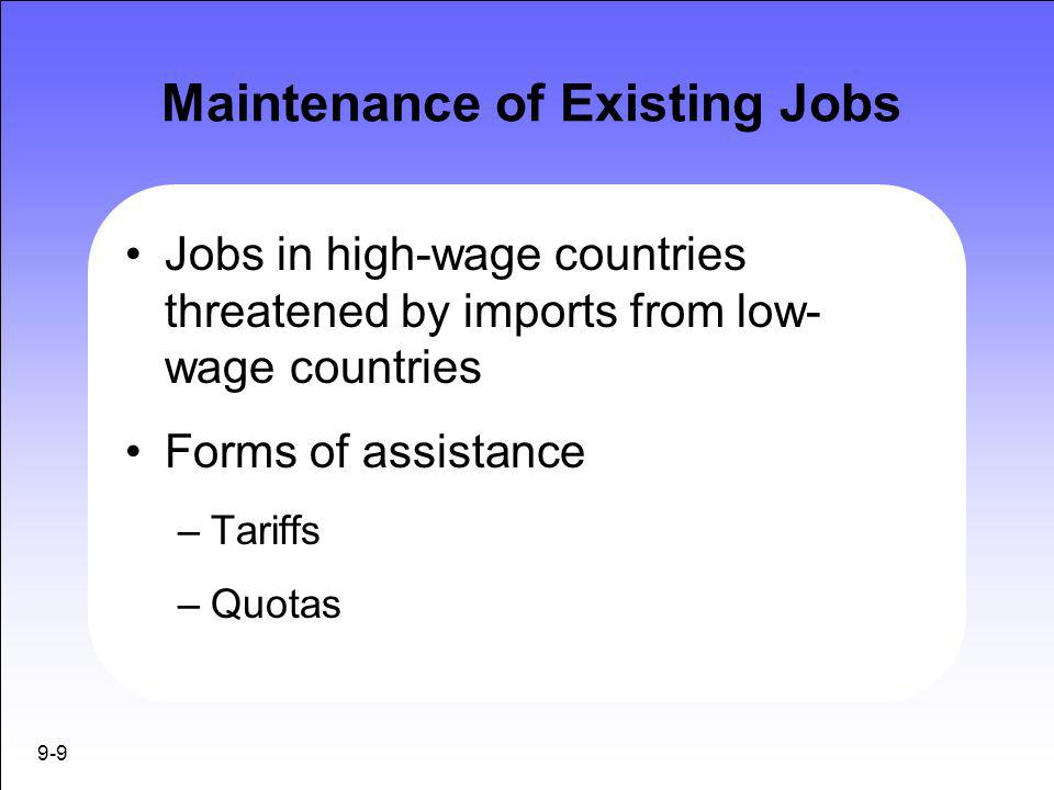 Maintenance of Existing Jobs