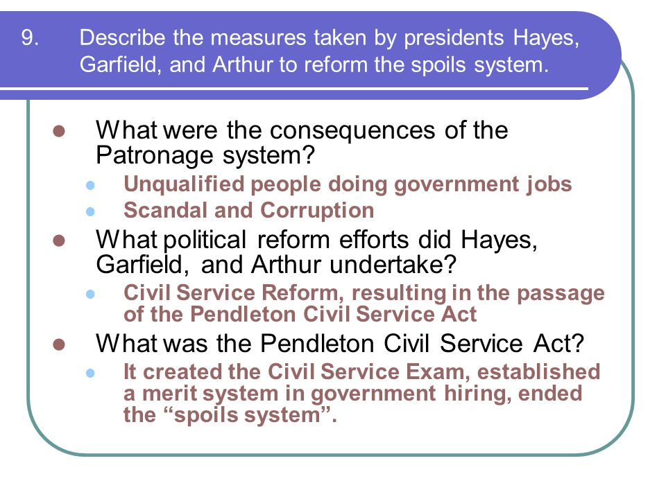 What were the consequences of the Patronage system