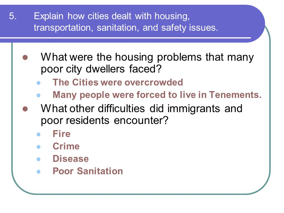What were the housing problems that many poor city dwellers faced