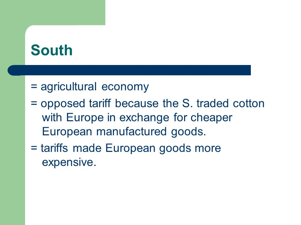 South = agricultural economy