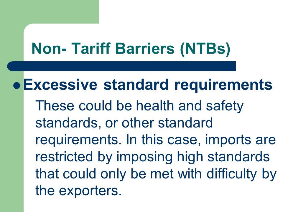 Non- Tariff Barriers (NTBs)