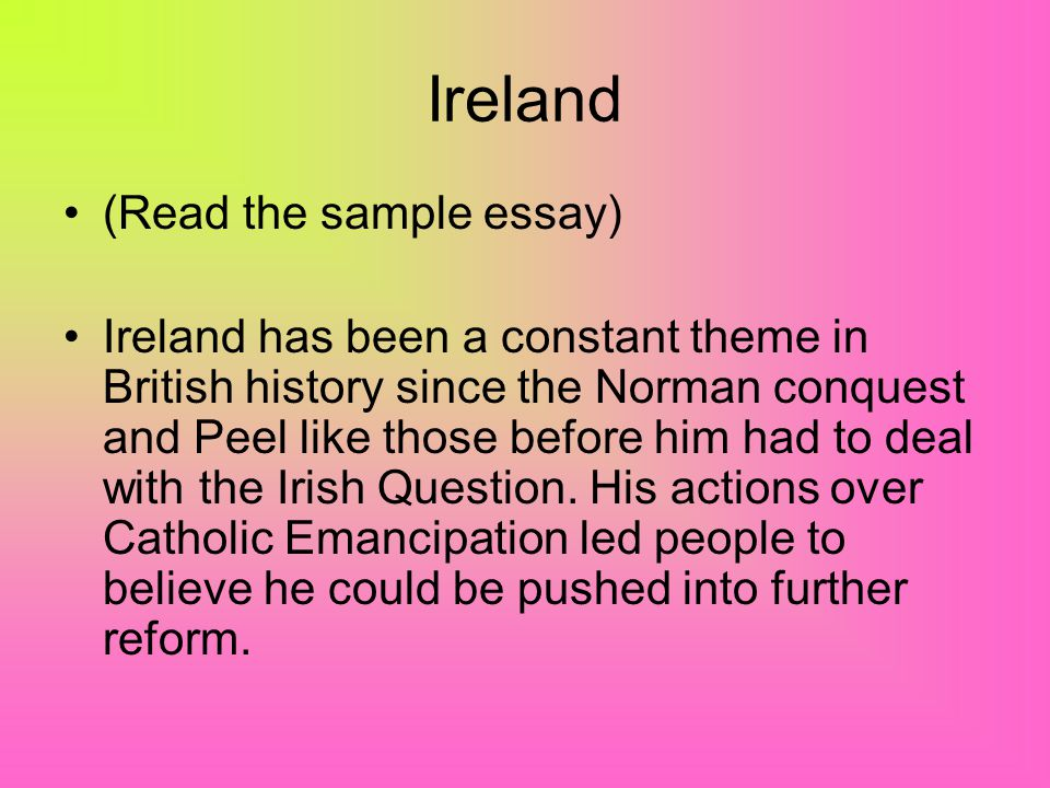 Ireland (Read the sample essay)