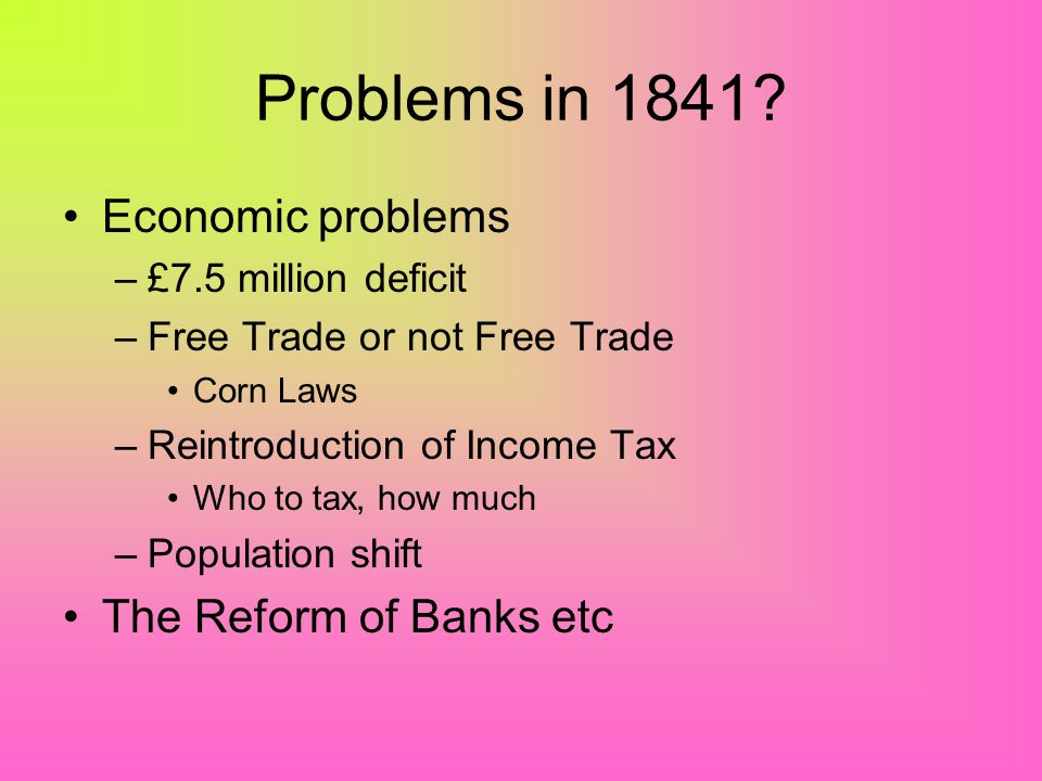 Problems in 1841 Economic problems The Reform of Banks etc