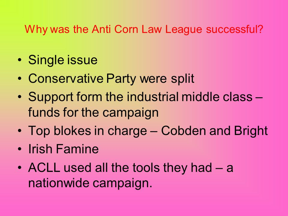 Why was the Anti Corn Law League successful