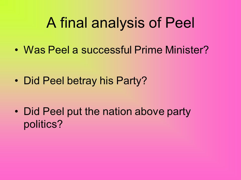 A final analysis of Peel