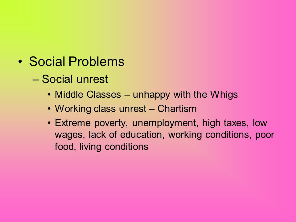 Social Problems Social unrest Middle Classes – unhappy with the Whigs