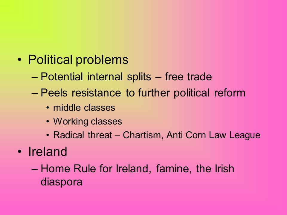 Political problems Ireland Potential internal splits – free trade