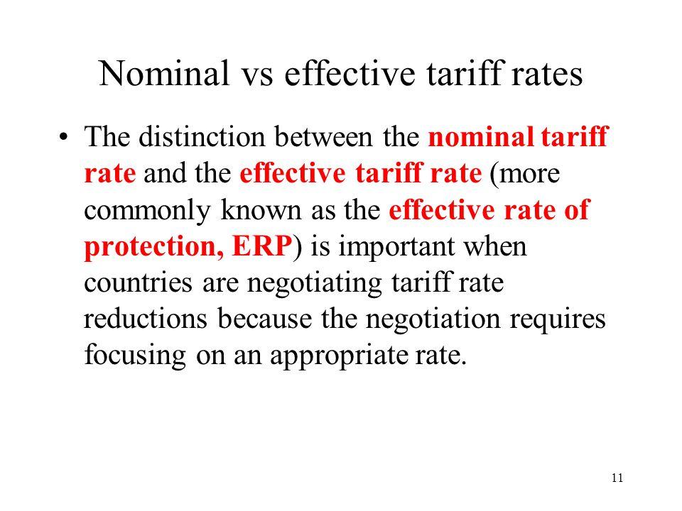 Nominal vs effective tariff rates