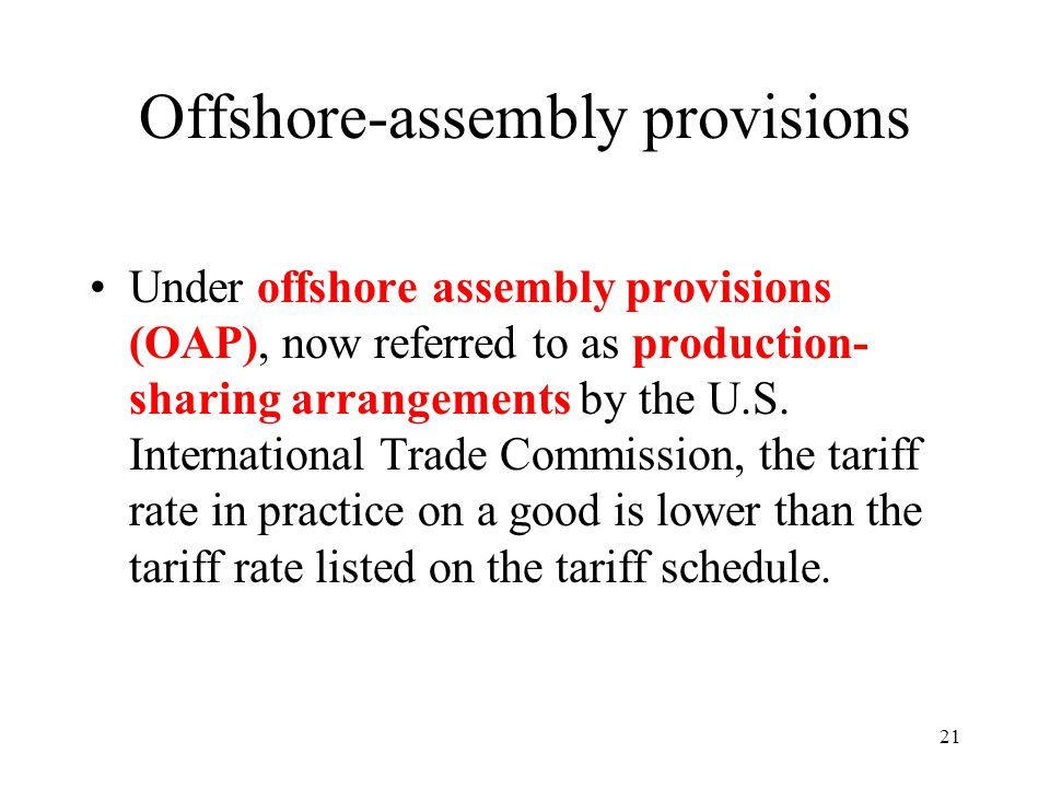 Offshore-assembly provisions