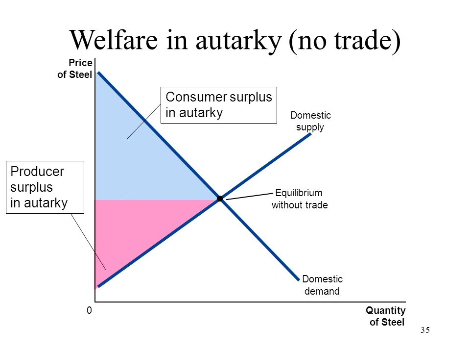 Welfare in autarky (no trade)