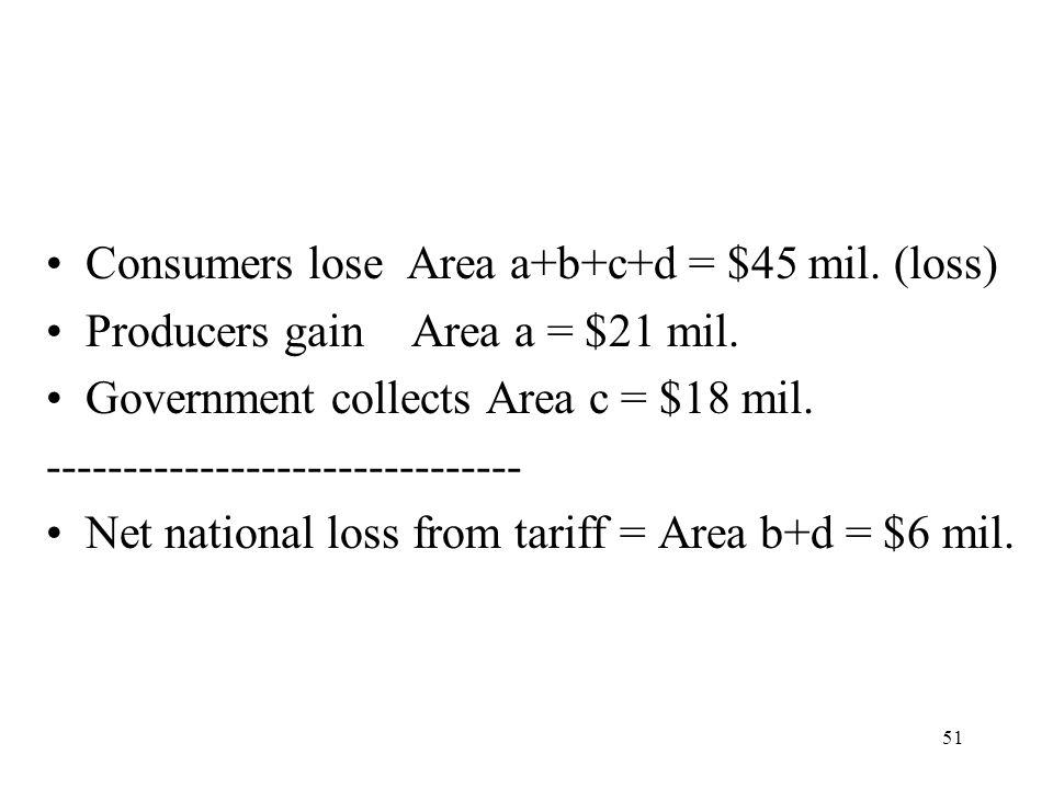 Consumers lose Area a+b+c+d = $45 mil. (loss)