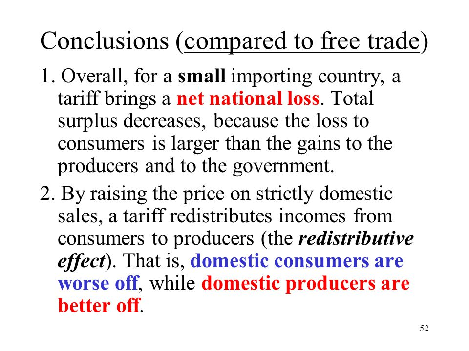 Conclusions (compared to free trade)