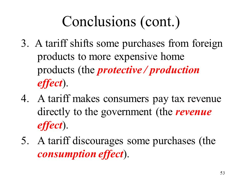 Conclusions (cont.) 3. A tariff shifts some purchases from foreign products to more expensive home products (the protective / production effect).