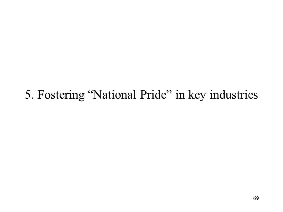 5. Fostering National Pride in key industries