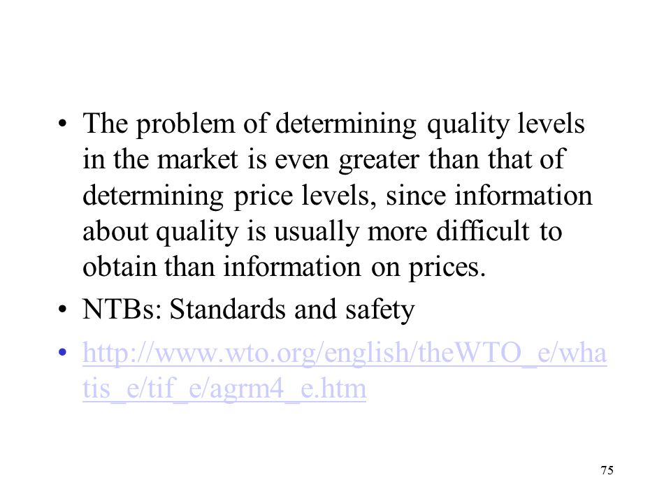 NTBs: Standards and safety
