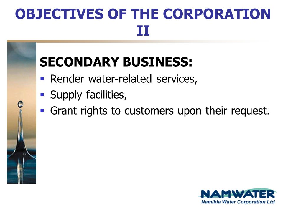 OBJECTIVES OF THE CORPORATION II
