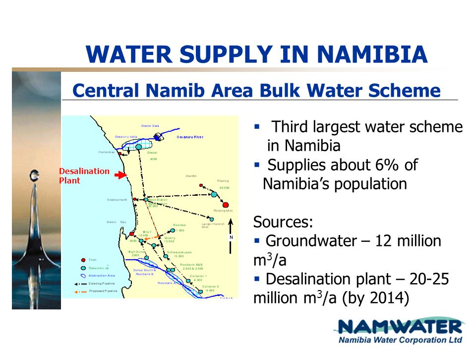 WATER SUPPLY IN NAMIBIA Central Namib Area Bulk Water Scheme