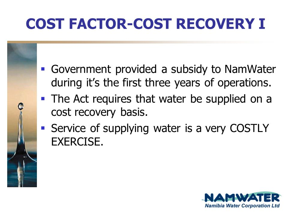 COST FACTOR-COST RECOVERY I