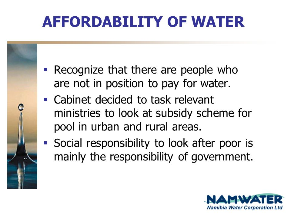 AFFORDABILITY OF WATER