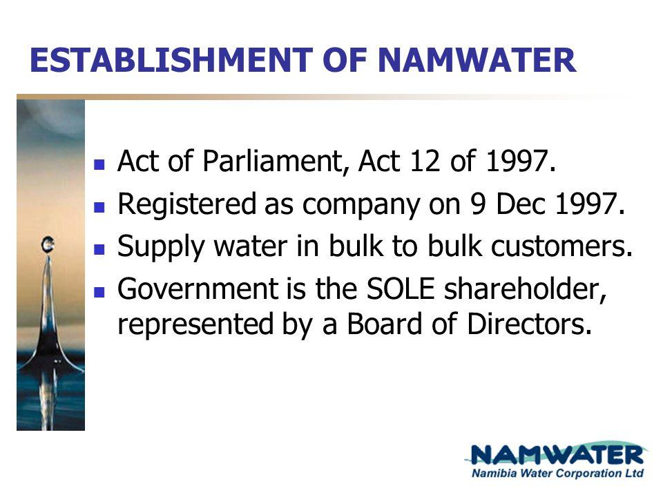 ESTABLISHMENT OF NAMWATER