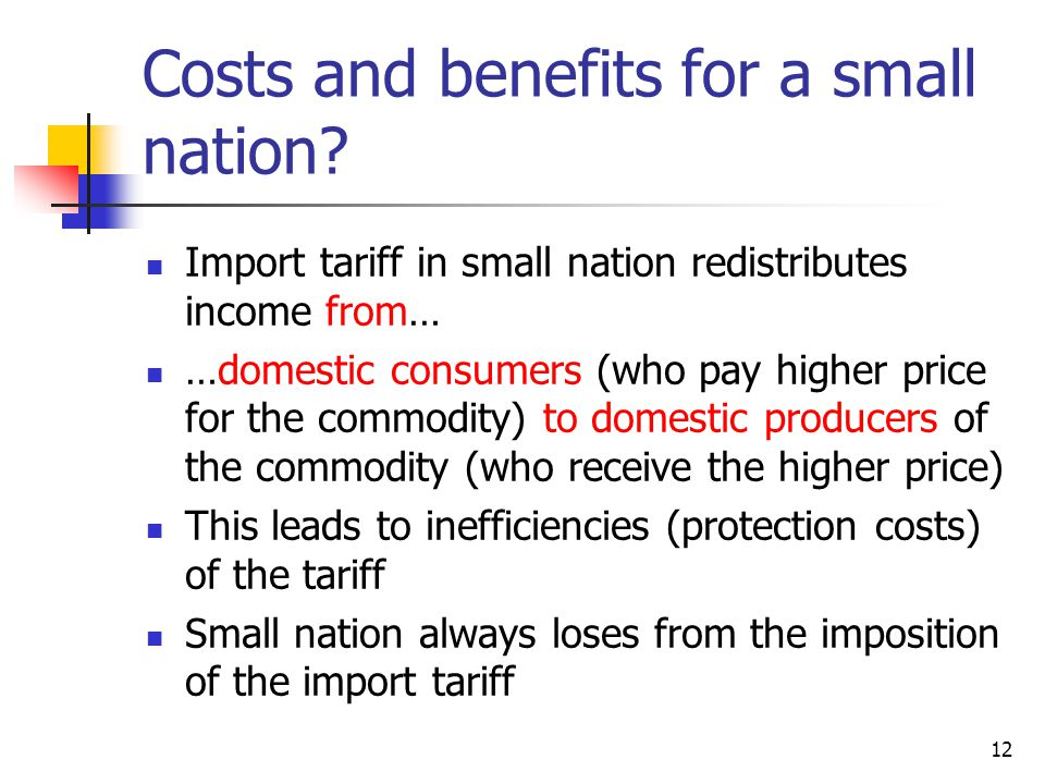 Costs and benefits for a small nation