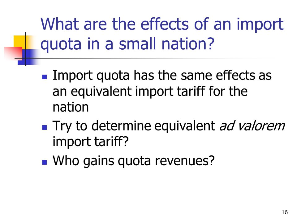 What are the effects of an import quota in a small nation