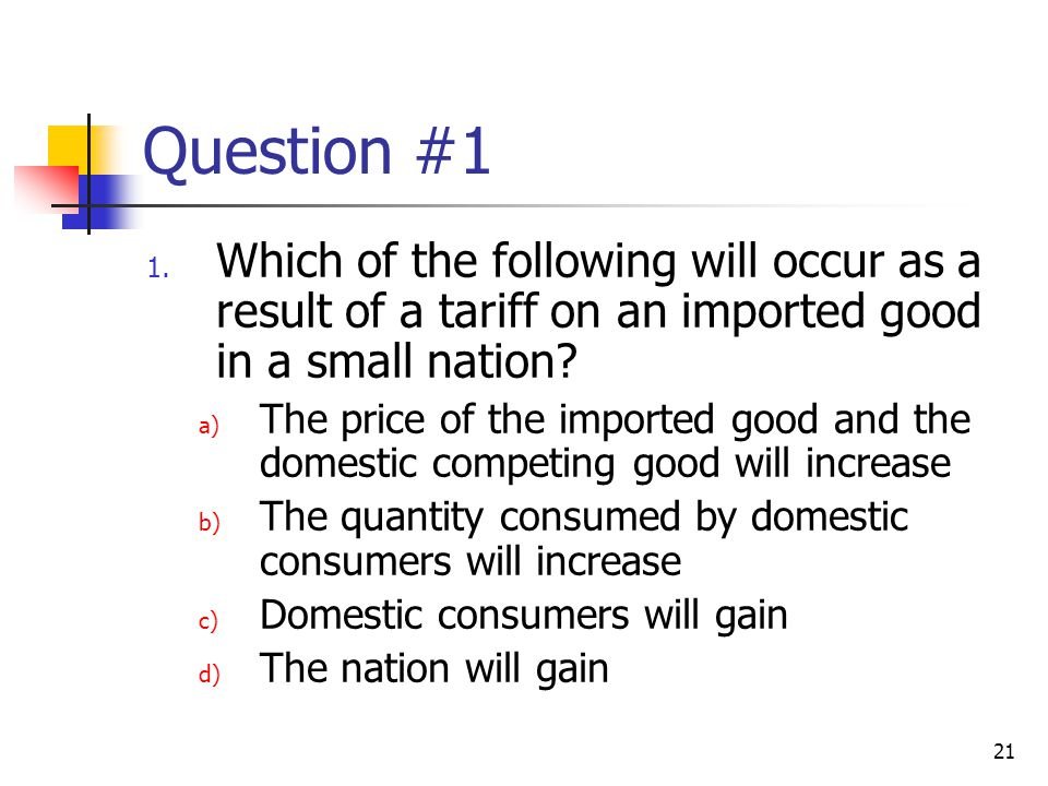 Question #1 Which of the following will occur as a result of a tariff on an imported good in a small nation