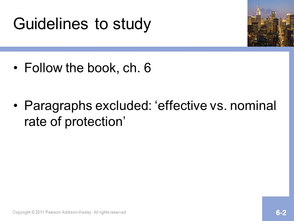 Guidelines to study Follow the book, ch. 6