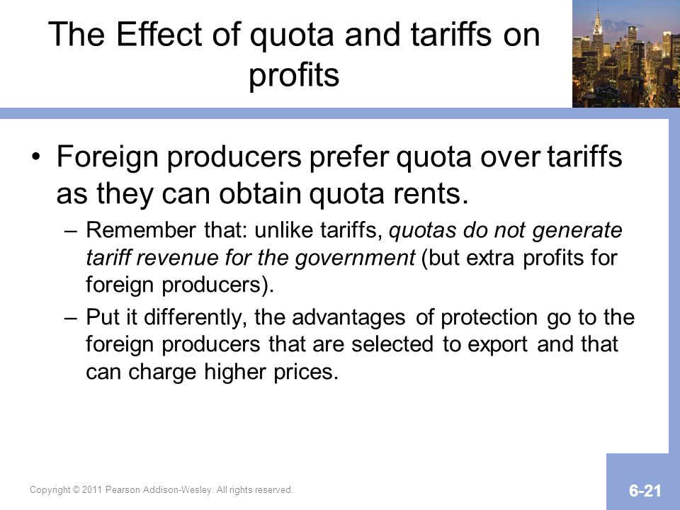 The Effect of quota and tariffs on profits