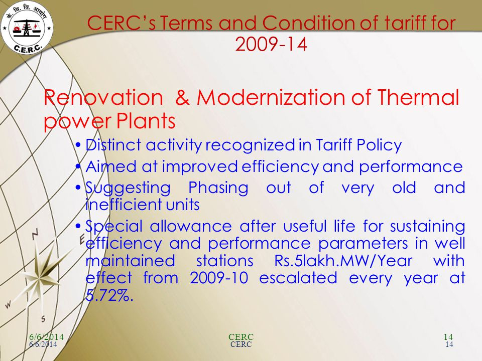 CERC's Terms and Condition of tariff for 2009-14