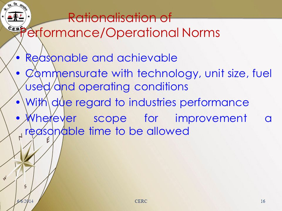 Rationalisation of Performance/Operational Norms