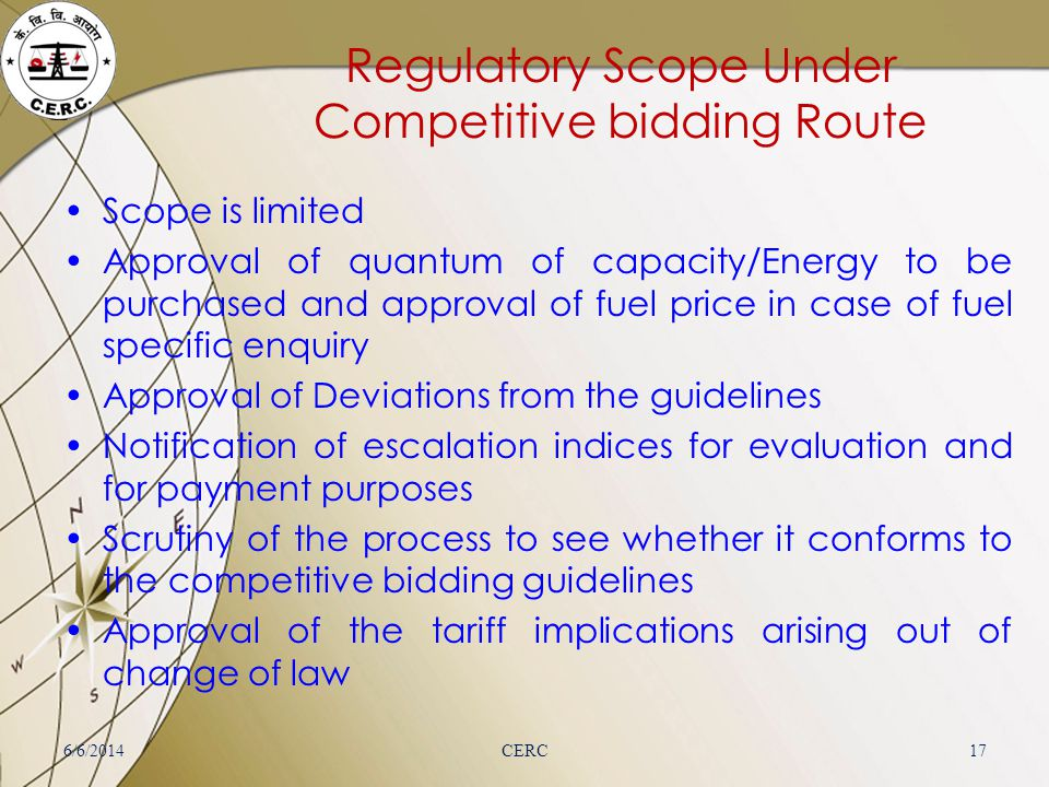 Regulatory Scope Under Competitive bidding Route