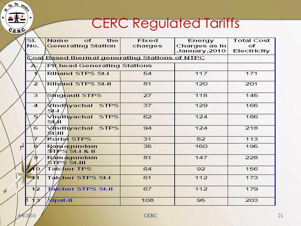 CERC Regulated Tariffs