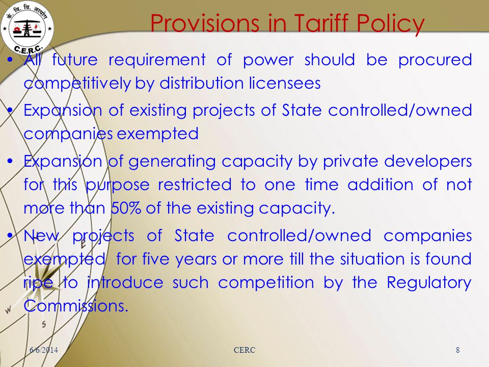 Provisions in Tariff Policy