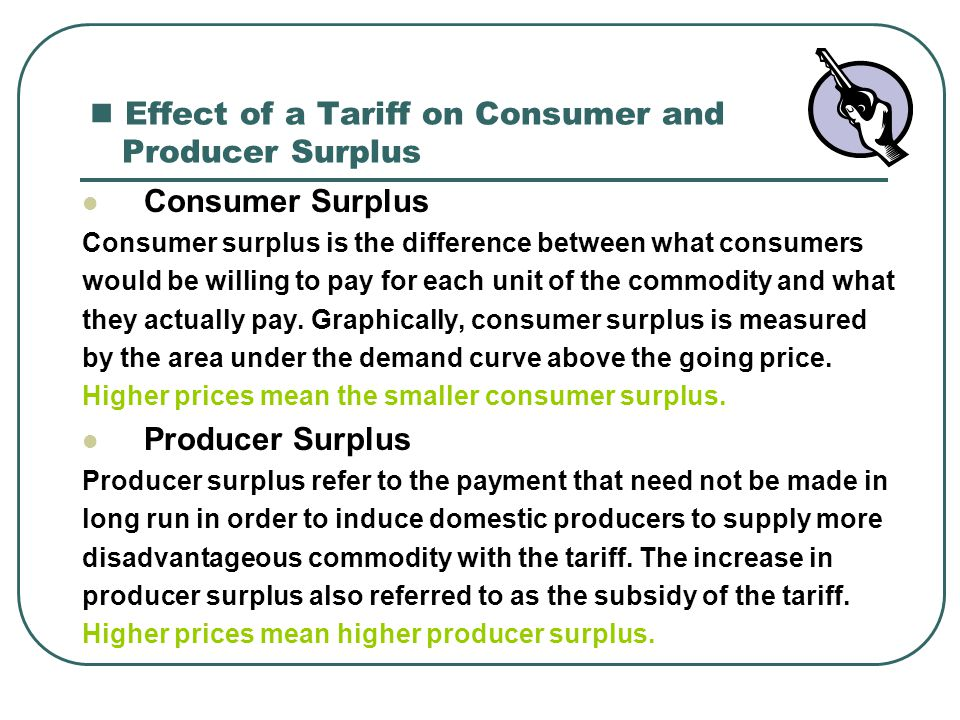Effect of a Tariff on Consumer and Producer Surplus