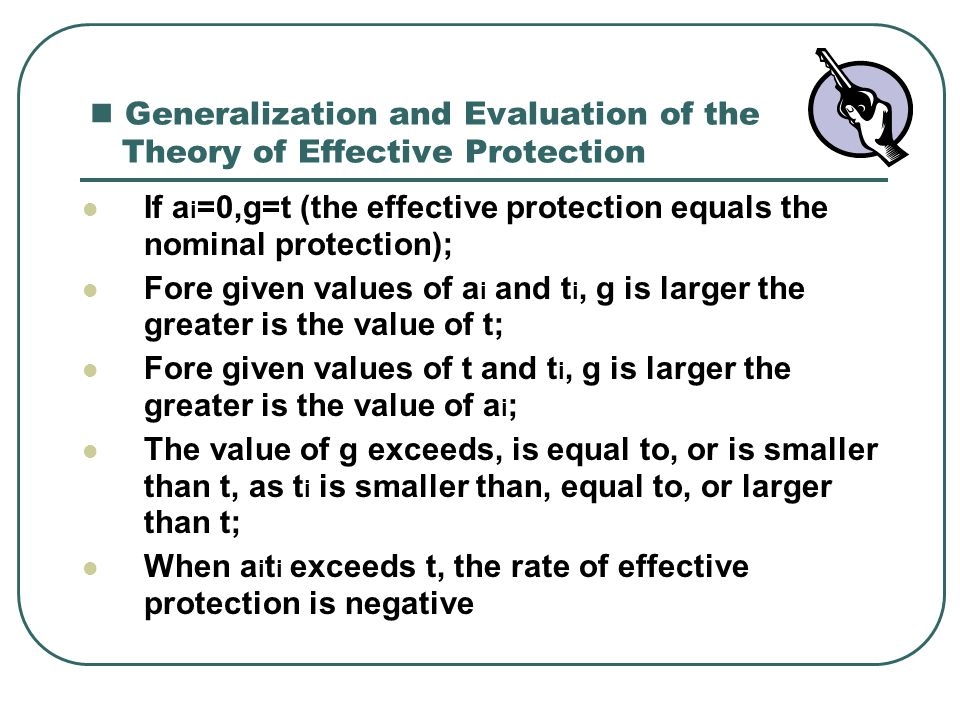 Generalization and Evaluation of the Theory of Effective Protection