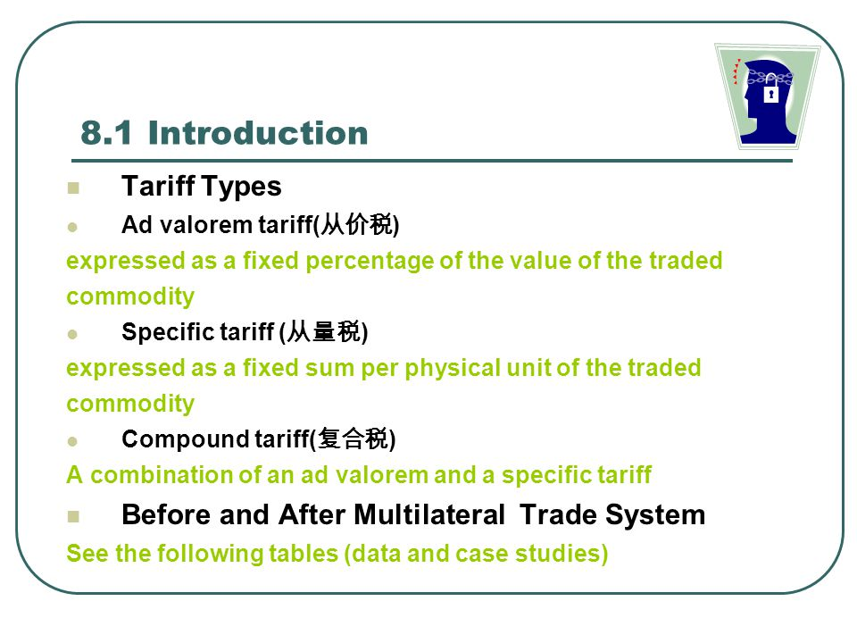 8.1 Introduction Tariff Types