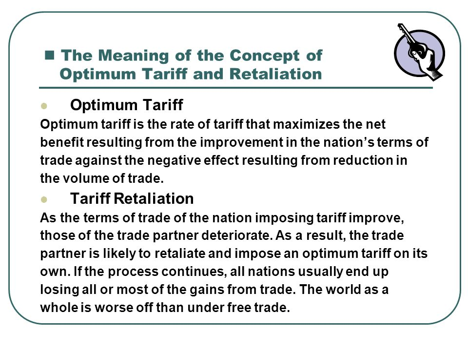 The Meaning of the Concept of Optimum Tariff and Retaliation