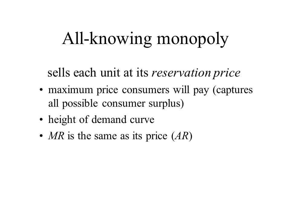 All-knowing monopoly sells each unit at its reservation price