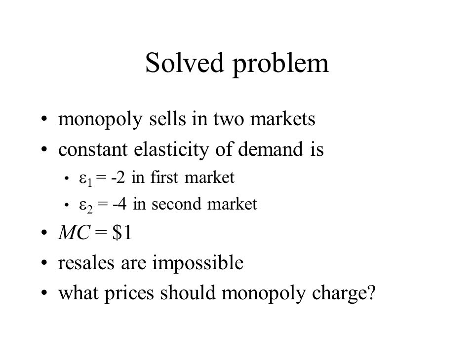 Solved problem monopoly sells in two markets