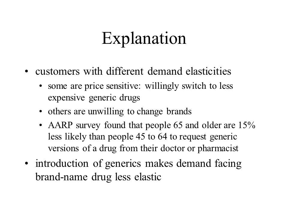 Explanation customers with different demand elasticities