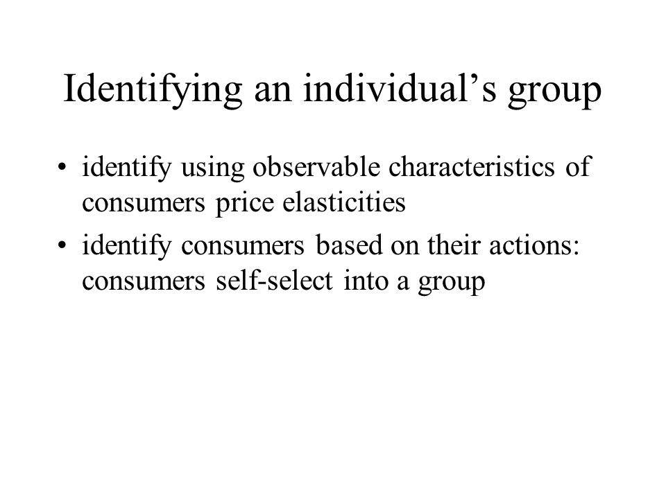 Identifying an individual's group