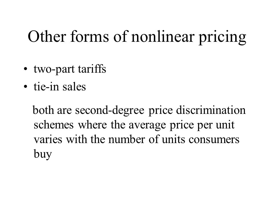 Other forms of nonlinear pricing